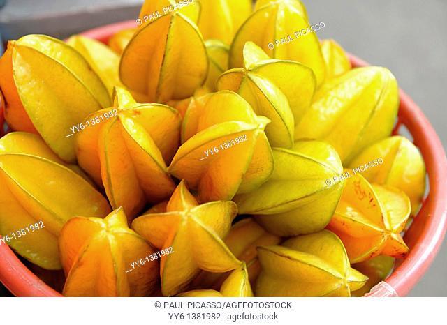 starfruit for sale, klong toey market klong toei , bangkok, thailand