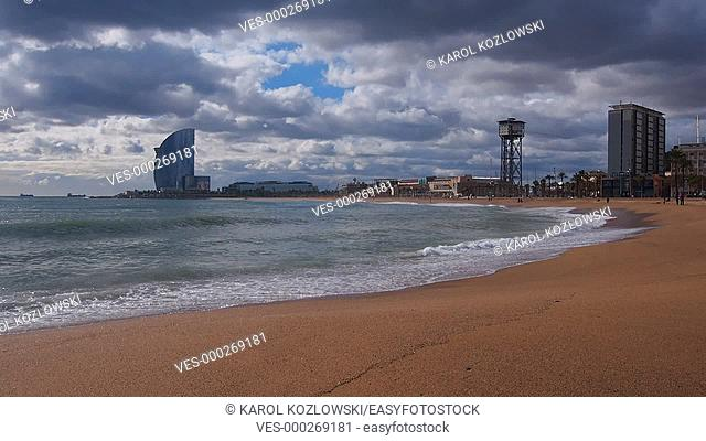 Barceloneta Beach and Cityscape of Barcelona, Catalonia, Spain