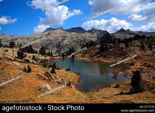 Landscape with the Ordicuso lake. Tena valley. Huesca