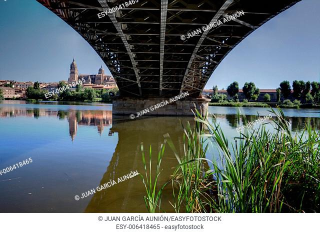 Under the Bridge Sanchez Fabres in Salamanca over Tormes river, Spain