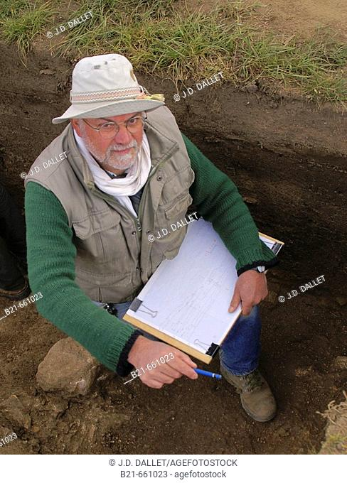 France. Corsica. Mr. André D'Anna, from the CNTS, Director of the escavations on the archeological  site of Cauria