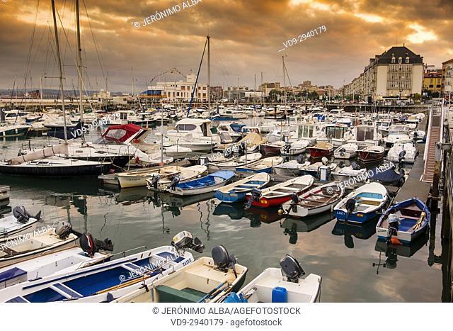 Puerto Chico marina port at sunset. Santander, Cantabrian Sea, Cantabria, Spain, Europe