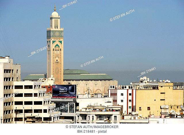View of the city and minaret of mosque Hassan II Cacablanca Morocco