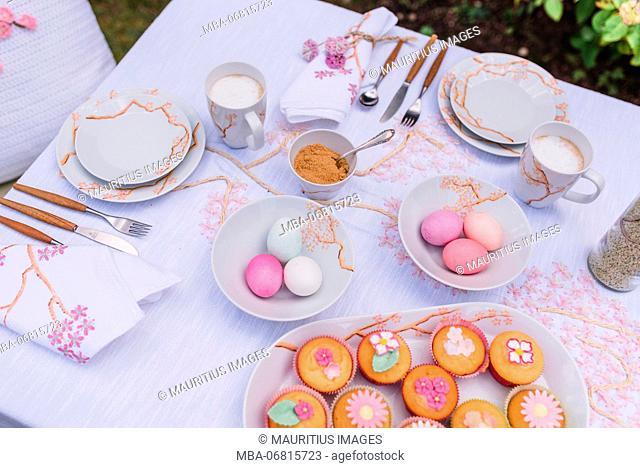 Easter breakfast in the garden, Still life Easter