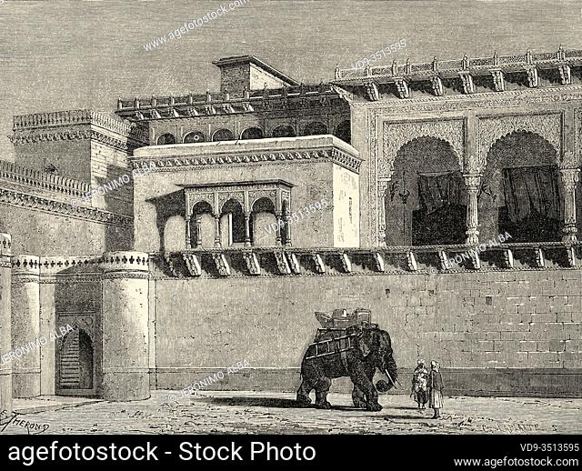 Govindgarh Palace, Rewa, Madhya Pradesh. India. Old engraving illustration from El Mundo en la Mano 1878