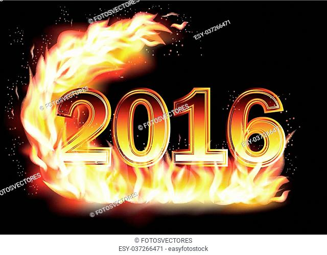 Fiery New 2016 Year background, vector illustration