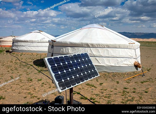 Traditional Mongolian portable round tent ger and solar panel in Gobi desert, Mongolia