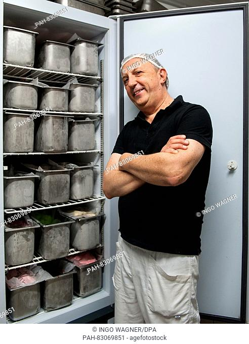 The ice-cream-maker Marco Lestam from Italy presents different varieties of ice cream flavours in the kitchen of his ice-cream cafe 'Bellissima' in Bremen