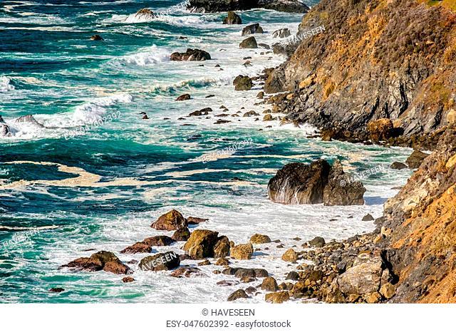 USA Pacific coast landscape, Julia Pfeiffer Burns State Park, California
