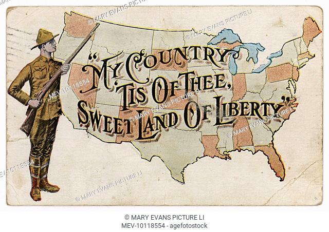 An American soldier stands proudly beside a map of the USA: 'My country 'tis of thee, sweet land of liberty'