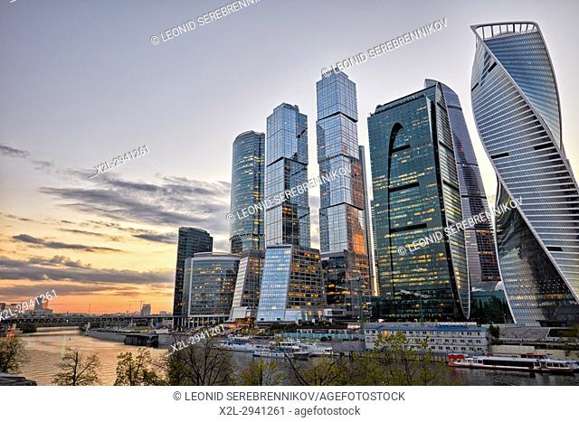 """The Moscow International Business Centre (MIBC), also known as """"Moscow City"""""""" at dusk. Moscow, Russia"""