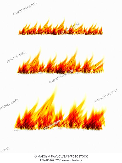 Fiery flames on a white background. Fire bonfire. Vector realistic illustration