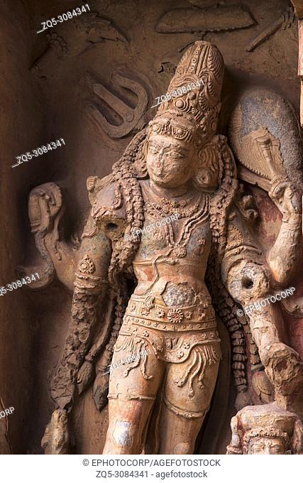 Carved idol in Gangaikondacholapuram Temple. Thanjavur, Tamil Nadu, India. Shiva Temple has the biggest Lingam in South India