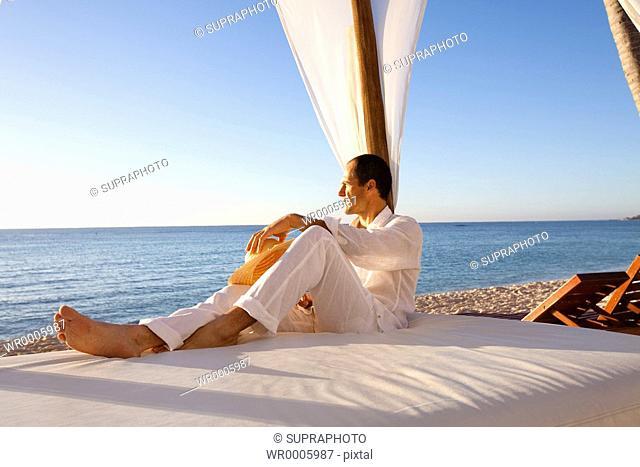 Man holidays relaxing