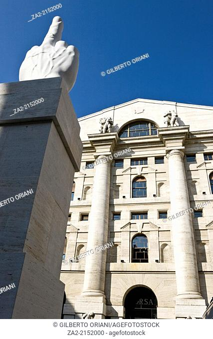 'Middle finger' Maurizio Cattelan's sculpure the Milan stock exchange