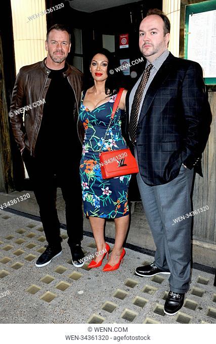 William Jason Reso (former WWE wrestler Christian Cage), Janine Nerissa and film producer Jonathan Sothcott arrive at Langan's Brasserie in Mayfair, London