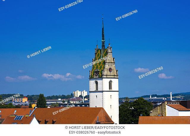 The tower of St. Nikolaus Church in Friedrichshafen - Friedrichshafen, Lake Constance, Baden-Wuerttemberg, Germany, Europe