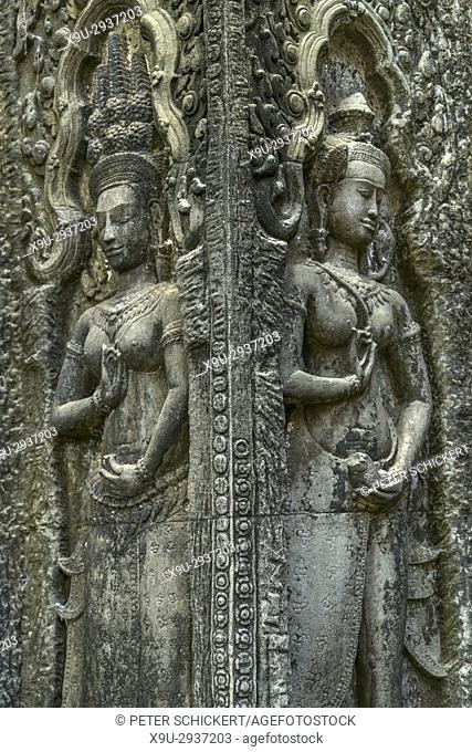 Apsara Relief, Tempelruine Ta Phrom, Angkor Region, Kambodscha, Asien | Apsara Relief, temple ruin Ta Prohm, Angkor Region, Cambodia, Asia