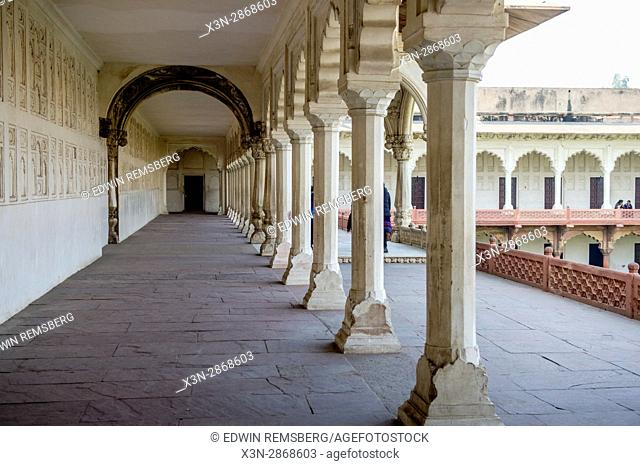 Open walkway and columns at Agra Fort, located in Agra, India