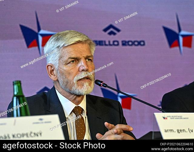 Former chairman of the NATO Military Committee general Petr Pavel speaks during the 8th edition of security conference Our Security Is Not Granted in Prague...