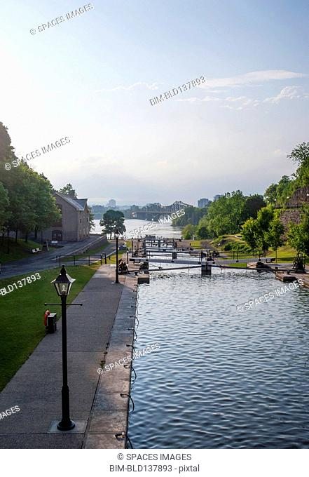 Locks in Rideau Canal under blue sky, Ottawa, Ontario, Canada