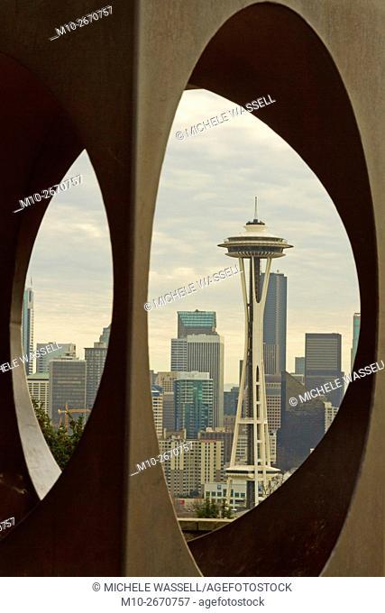 Space Needle through the dome in downtown Seattle, Washington, USA