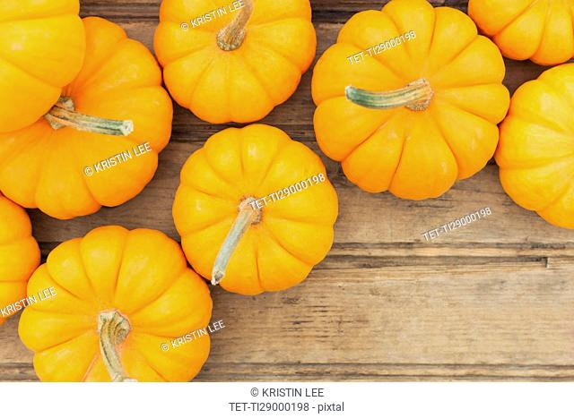 Overhead view of yellow pumpkins