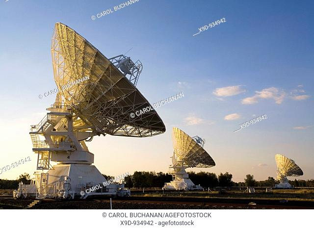 The Australia Telescope Compact Array ATCA, at the Paul Wild Observatory, Narrabri, Australia, is an array of six 22m antennas used for radio astronomy
