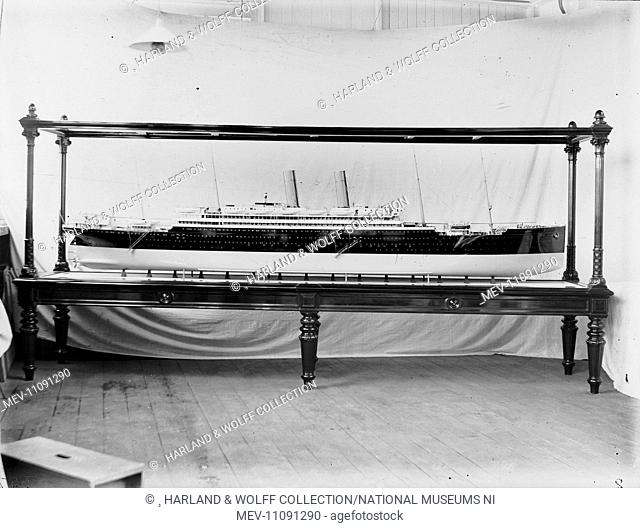 Starboard profile of cased builder's model. Ship No: 357. Name: Amerika. Type: Passenger Ship. Tonnage: 22724. Launch: 20 April 1905