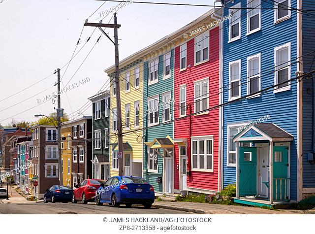 Pastel coloured row houses (Jellybean Row) in downtown St. John's, Avalon Peninsula, Newfoundland, Canada