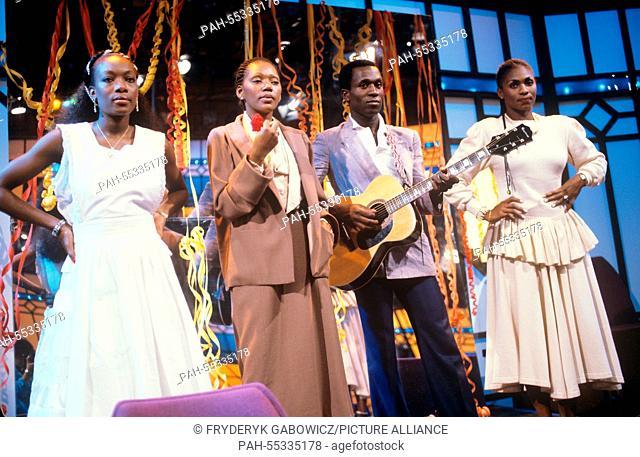 Boney M (l-r. Maizie Williams, Liz Mitchel, Bobby Farrell, Marcia Barrett) on 28.06.1982.   usage worldwide. - /Germany