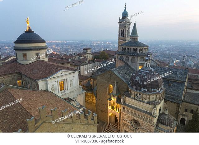 Cathedral of Bergamo with Basilica of Santa Maria Maggiore from above at dusk, Bergamo (Upper town), Lombardy, Italy