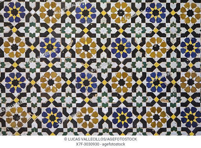 Detail, tiled ornamentation, Courtyard of Zaouia (tomb) of Moulay Idriss II, medina, Fez. Morocco
