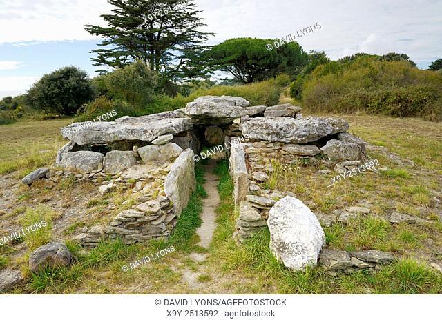 Neolithic prehistoric dolmen burial chamber Dolmen de la Joseliere. On the shore at Pornic, Loire Atlantique, Brittany, France