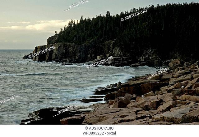 Early Light on Rocky Shore, Acadia National Park, Maine