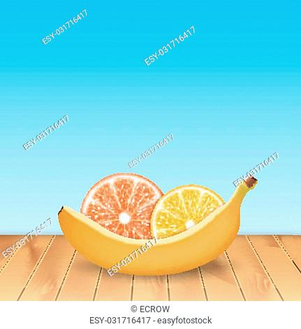 Background with banana, orange and grapefruit. High quality vector. EPS10 vector