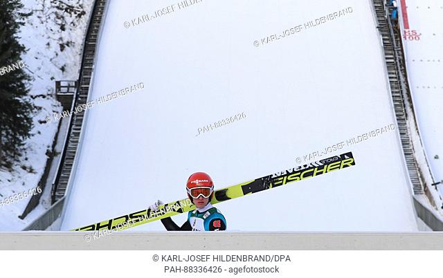 The nordic skiing combined athlete Manuel Faisst from Germany after a training session on the normal ski jump at the Nordic Skiing World Championships in Lahti