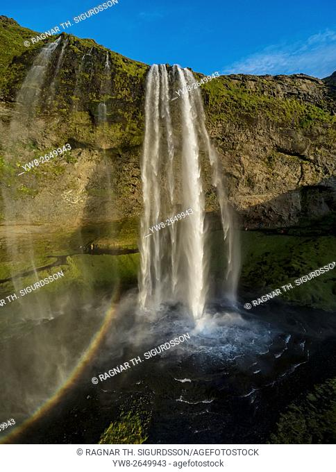 Seljalandsfoss Waterfall in the fall, Iceland. This image is shot using a drone