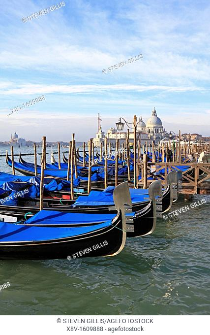 Gondolas berthed on the Saint Mark's waterfront, Venice, Veneto, Italy, Europe