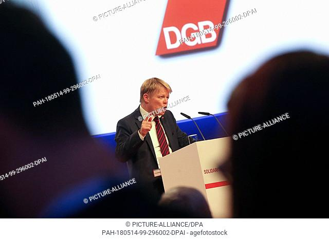 14 May 2018, Germany, Berlin: Reiner Hoffmann, chairman of the Deutscher Gewerkschaftsbund (DGB) (lit. German Trade Union Confederation) delivers a keynote...
