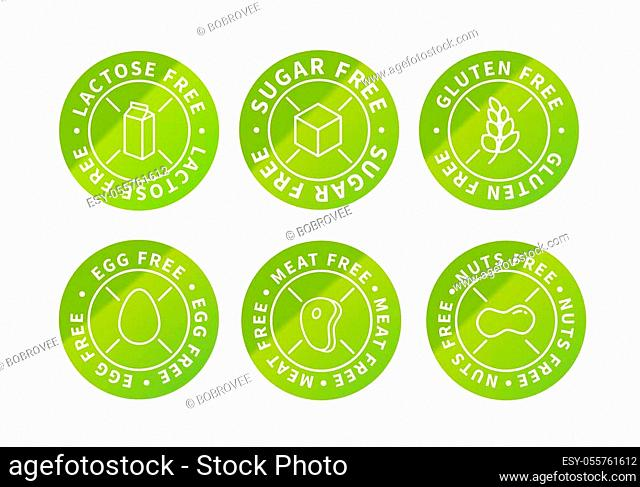 Set of food simple bright green eco icons, lactose free, sugar free, nuts free, egg free, meat free, gluten free isolated on white