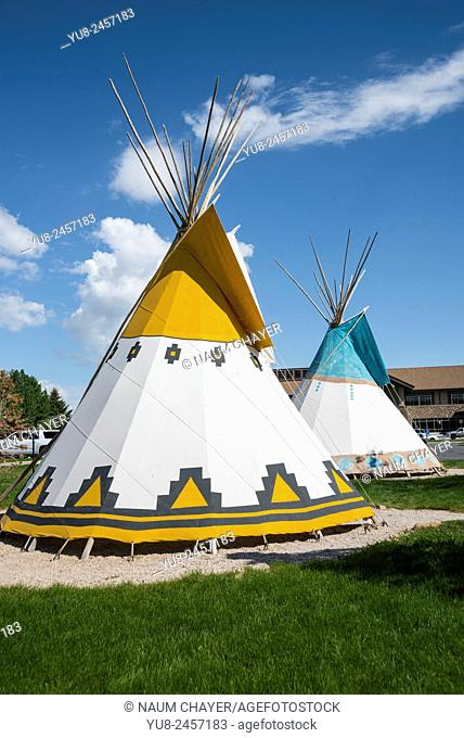 Indian wigwam in front of Buffalo Bill Center of the West, Cody, Wyoming, USA, North America