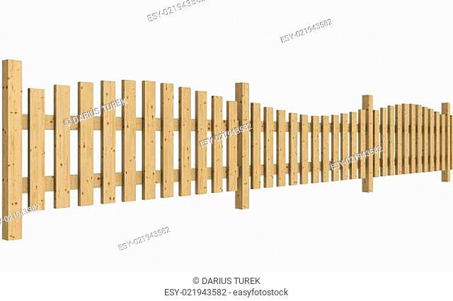 Der Holzzaun isoliert vor weissem Hintergrund