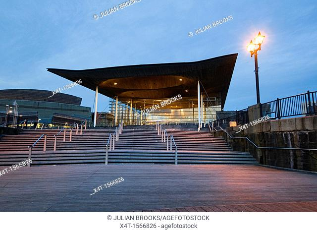 The Welsh Assembly debating chamber, or Senedd, Cardiff  Early evening shot with steps  Wide angle
