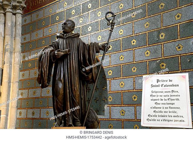 France, Haute Saone, Luxeuil les Bains, Saint Colomban abbey, Saint Pierre basilica dated 13-14th century, Saint Colomban chapel, statue of the saint