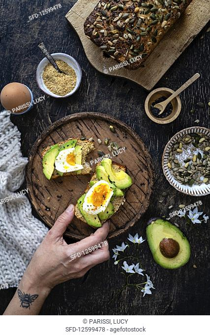 Healthy breakfast with avocado and eggs