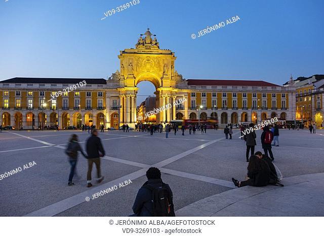 Triumphal Arch of Rua Augusta at dusk, Commerce Square. Lisbon, Portugal. Europe
