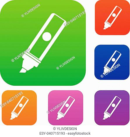 Permanent marker set icon color in flat style isolated on white. Collection sings vector illustration