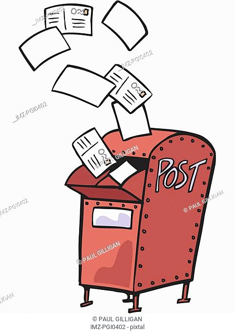 Drawing of a red mail box with letters flying out
