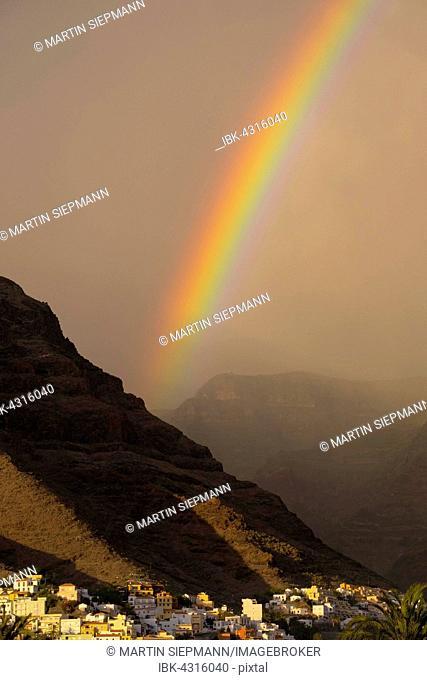 Rainbow, La Calera, Valle Gran Rey, La Gomera, Canary Islands, Spain